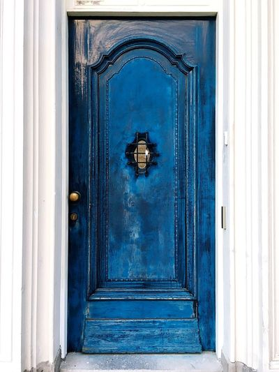 It might seem closed, but the door will always be open. Blue Door Door Entrance Closed Blue Architecture No People Built Structure Day Safety Building Exterior Wood - Material Pattern Protection Building Window House Full Frame Security Old Outdoors