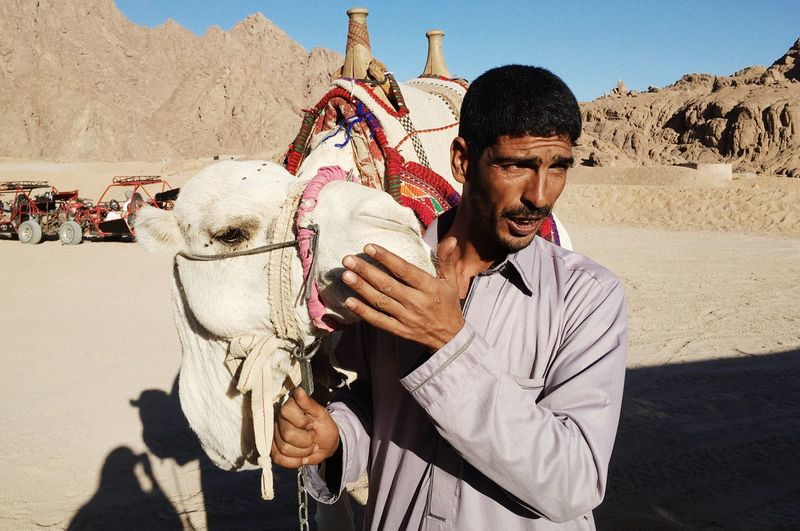 Man With Camel At Desert