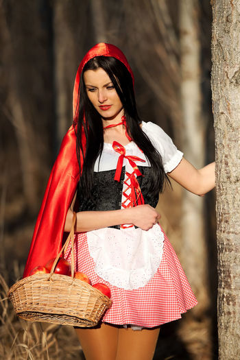 Alone Aple Aples Attitude Attraction Attractive Basket Basketball Fashion Fashionable Fear Forest Girl Girlfriend Happy Little Red Riding Hood Model Modeling Red Wood