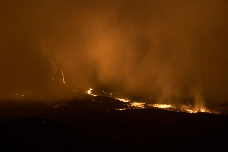 Lava flows on  piton de la fournaise volcano slopes