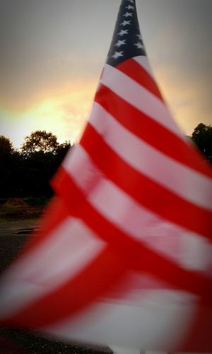 Flag Red Striped Sunset Patriotism Cloud - Sky Sky American Flag Independence Day Freedom Independence