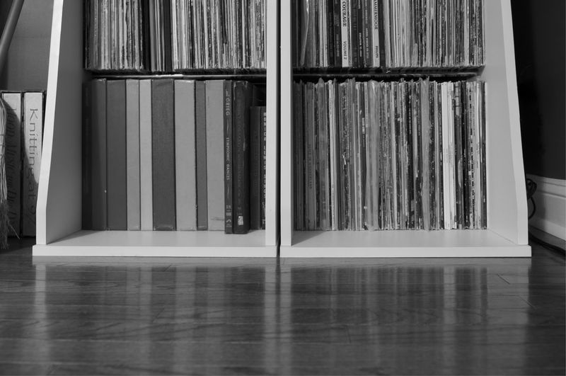 His record collection Indoors  No People Choice Day Bookshelf Close-up Records Home Blackandwhite Vinyl Black And White Friday