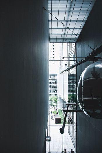 Modern building seen through glass window