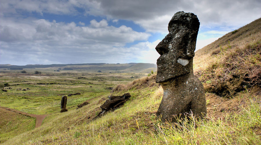 Moai on easter island Easter Island Rapa Nui Art And Craft Beauty In Nature Cloud - Sky Day Environment Field Grass Green Color Land Landscape Mountain Nature No People Non-urban Scene Outdoors Plant Representation Scenics - Nature Sky Tranquil Scene Tranquility