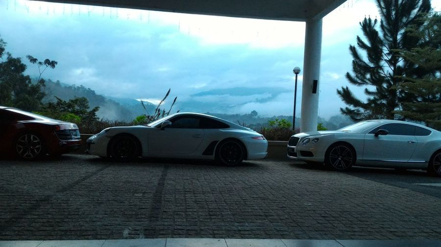 Luxury cars parked in front of Cherengin Hills Convention & Spa Resort. Car Transportation Tree No People Outdoors Sky Nature