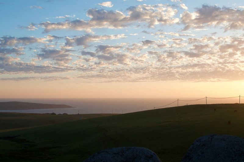 Pacific Coast sunset with farm animals and rolling hills, the clouds hang softly above a hazy horizon. Rolling Hills Sonoma Coast Beach At Sunset Beauty In Nature Cloud - Sky Environment High Angle View Landscape No People Outdoors Pacific Ocean Scenics - Nature Sea Sonoma County Sunset