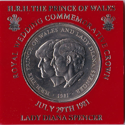 1981 British Coinage Charles & Diana Commemoration Crown Lady Diana Spencer Prince Of Wales Royal Wedding Astrology Sign Close-up Currency Day No People Princess Of Wales Red Text Western Script