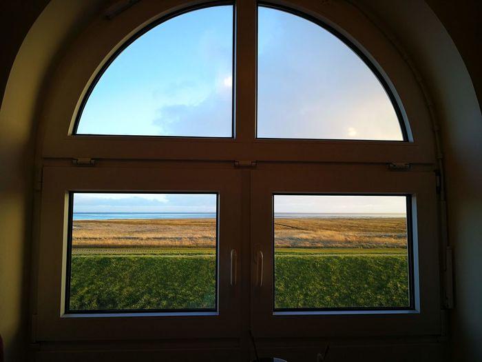 Landscape seen through window