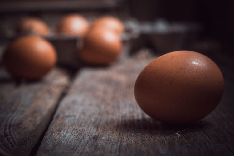 Close-Up Of Brown Eggs On Table