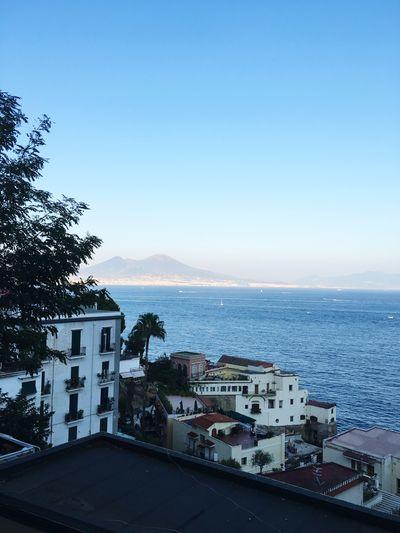 Sea Water Built Structure Building Exterior Clear Sky Calm Naples Golfo Di Napoli Posillipo Volcano Vesuvio