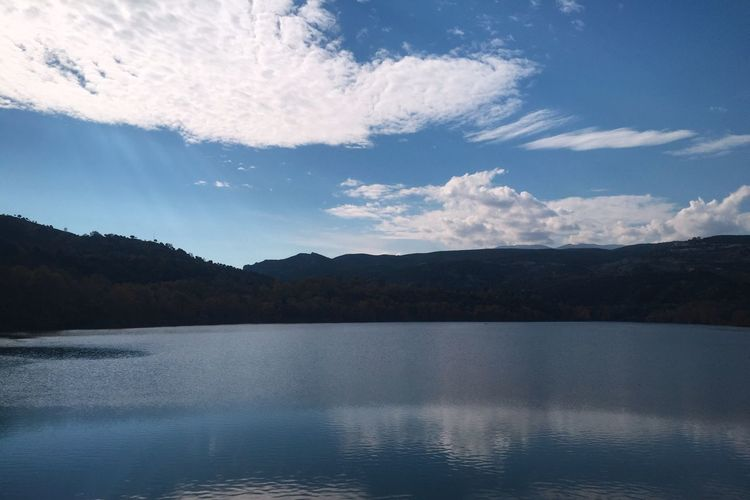 Beauty In Nature Sky Water Nature Mountain Tranquility Reflection Cloud - Sky Outdoors Scenics No People Tranquil Scene Idyllic Landscape Lake Day Greece 🎈👻