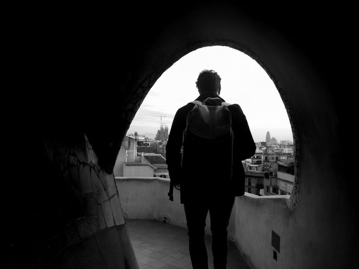 Rear view of a man during city break