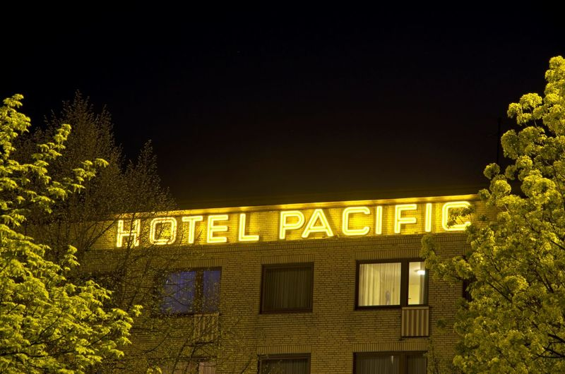 Hotel Pacific Hotel Hamburg Pferdemarkt Neon Lights Neon Sign Green Façade Architecture Night Building Exterior Illuminated Built Structure Low Angle View Tree No People