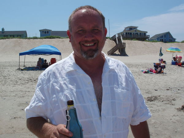 Beach Beer Casual Clothing Leisure Activity Lifestyles OBX Outdoors Outer Banks, NC Portrait Relaxing Sand Smiling Thats Me  Vacation Sandy Beach Beach Umbrella Real People Shore Calm