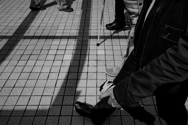 Snapshots of Life Blackandwhite Bnw Hongkongcity Snapshot IPhoneography Low Section Real People Human Leg Human Body Part Body Part Shadow Lifestyles Footpath People City Street High Angle View Men Shoe Walking Sunlight