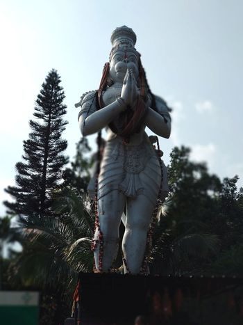 Jai Sri Anjaneyam Indian God Hanuman Statue Hanuman Bajrangbali One Woman Only One Person Only Women Adults Only Adult Low Angle View People