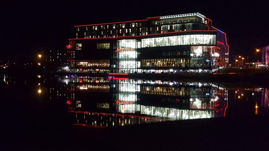 City Night Reflection Illuminated Building Exterior Cityscape Urban Skyline Neon