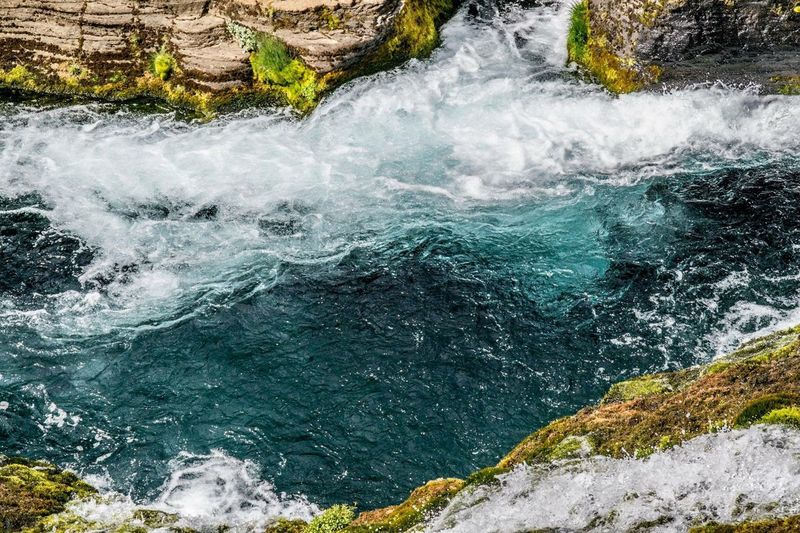 crystal clear mountainwater Wild Nature Greens Oasis Waterfall Icelandic Iceland Gjain Water Beauty In Nature Motion Nature Sea Day No People High Angle View Outdoors Flowing Water Rock Power In Nature Land Splashing Wave