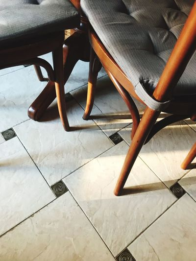 Chair Tiled Floor Indoors  Table High Angle View No People Day Seat Low Section Close-up