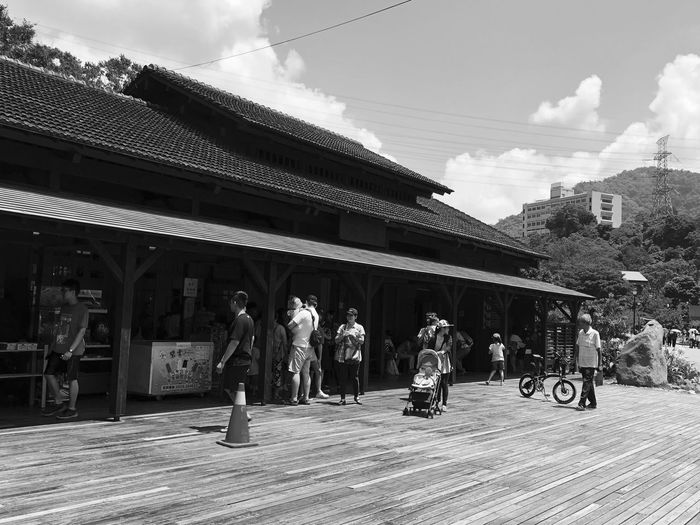 Outdoor photography series: Hot day at Checheng Train Station My Asia Trip 2018 Outdoor Photography Black And White Photography Checheng Travel Destinations Built Structure Architecture Building Exterior Sky Day Group Of People Nature Cloud - Sky Men Real People Lifestyles City Sunlight Adult People Street Outdoors Building Transportation Tree