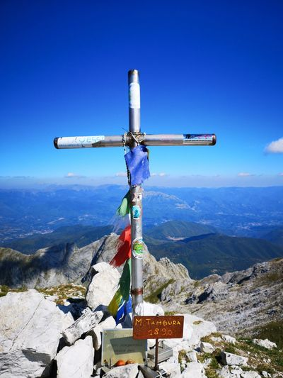 Mountain Cross Religion Blue Sky Landscape Cloud - Sky Mountain Range Rocky Mountains Statue Idol Rock Formation Eroded