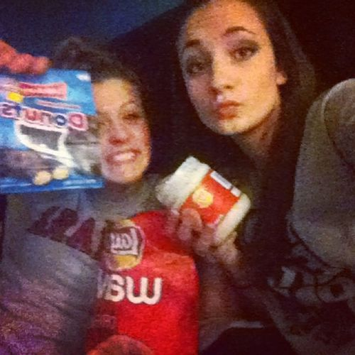 Eating our feelings. Singleforlife ? Baylee and Abby are too cool for our picture ?