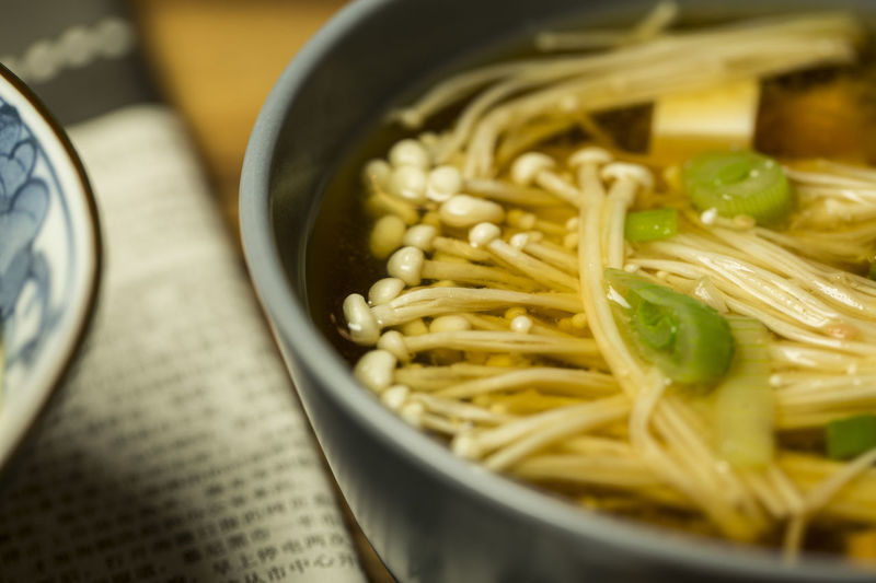 Close-up Enoki Mushrooms Food Food And Drink Freshness Healthy Eating Miso Soup Selective Focus Still Life