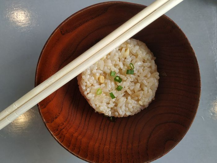 Garlic Fried Rice Top View Chopsticks Bowl Plate Cultures Japanese Food High Angle View Eating Fried Rice Served Rice