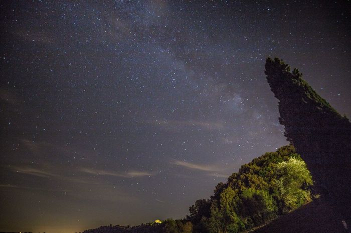 Last night I had a wonderful view to the Milkyway under the old cypress near Siena. Unfortunantely I share the Valley with lots of Wildboars, it was a freeky situation to hear the boars which I´m afraid of. So, I did a little bit of Music-namely Kraftwerk and Coldplay and they kept away! If you ever meet a wildboar, play some music or scream out loud! There was no Moon and an almost starry night with only a few tiny clouds. The g´duration of the captures lies between 15 an 30 seconds with f4 and 16 mm Wide angle. Enjoy! :) Andromeda Galaxy Astronomy Beauty In Nature Cypress Dark EyeEm Best Shots Galaxy Hemisphere Home Is Where The Art Is Infinity Italian Night Majestic Milky Way Milkyway Nebula Night Night Photography Nightphotography Poetry Scenics Science Sky Space Star Field Starry Night