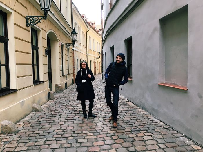 Friends Walking Around Prague Happy Smile Tourism Vacation Exploring