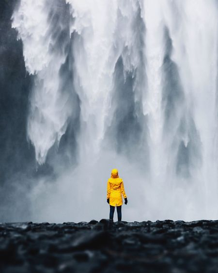Power. Rear View Cold Temperature Full Length One Person Weather Winter Go Higher Beauty In Nature Adventure Hiking Nature Snow Outdoors Adult People Yellow One Woman Only Adults Only Only Women Day Standing The Week On EyeEm Editor's Picks The Great Outdoors - 2018 EyeEm Awards