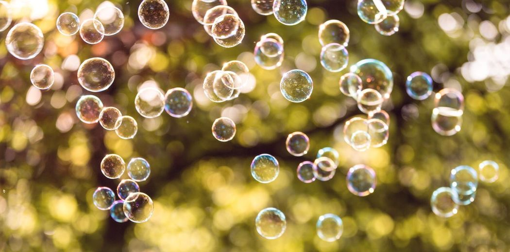 Close-up of bubbles in air