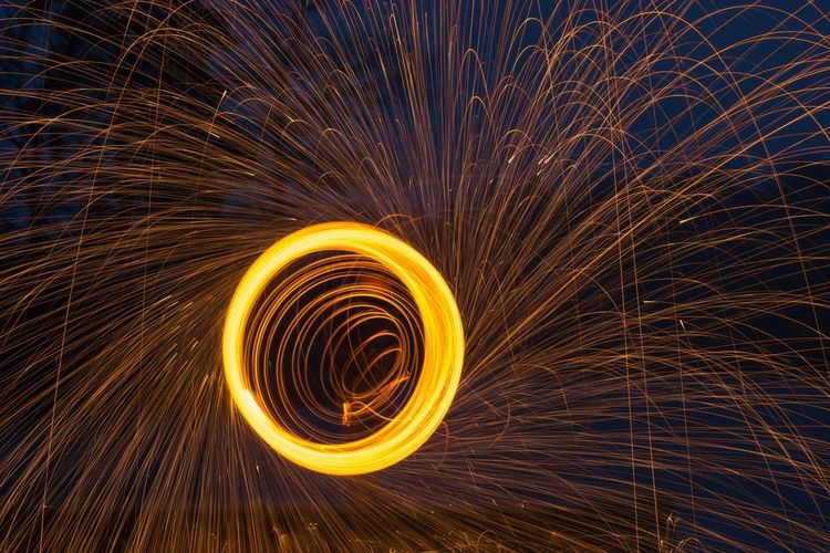 Steel Wool Steel Long Exposure Danger Spinning Night Sparks Wire Wool Speed Outdoors Real People One Person Glowing Light Effect Firework - Man Made Object Heat - Temperature Burning