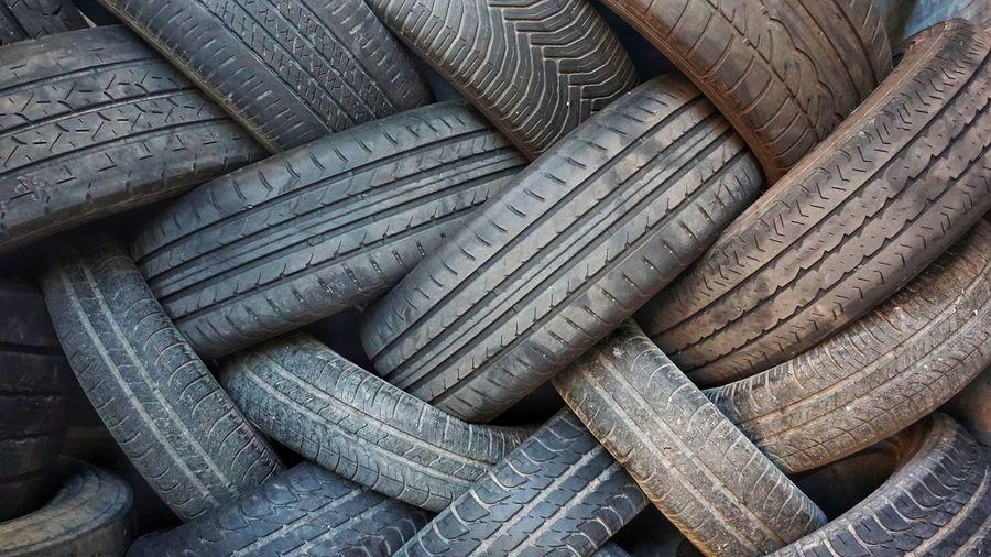 Full frame shot of old tires