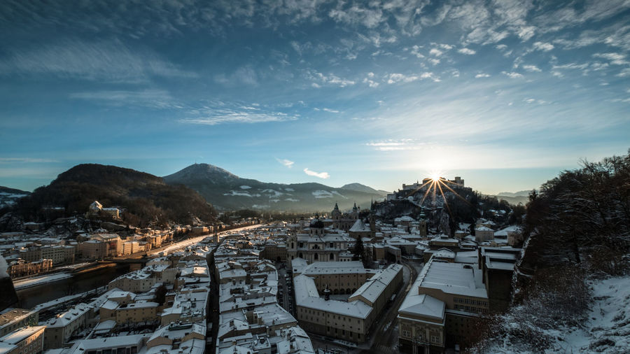 Sunrise over Salzburg No People Cloud - Sky Mountain Landscape Architecture Outdoors Hanging Out Fujifilm Fuji Sky Cold Temperature Taking Photos Winter Scenics Salzburg, Austria Travel Destinations Day Snow Ice Travel CityWalk Mystyle