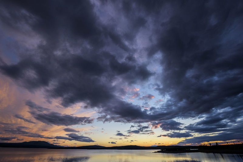 Scenic view of dramatic sky during sunset