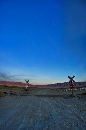 Railroad Crossing under a steady Moon, Trona Pinnacles, Mojave, CA