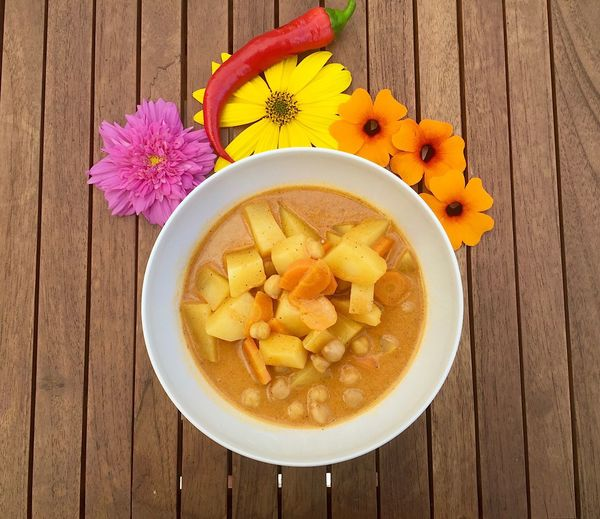 Yummy Curry Potato Freshness Food And Drink Flower Healthy Eating High Angle View Table Bowl No People Food Plate Wood - Material Ready-to-eat Food Stories