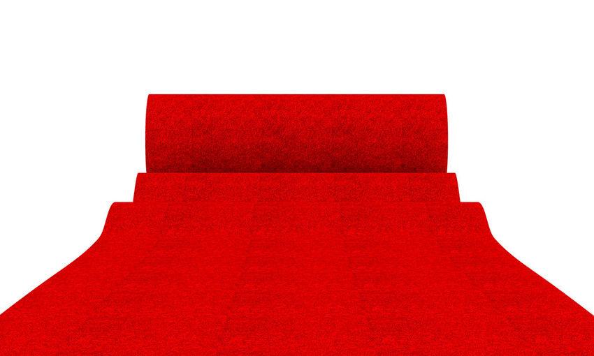 3D Rendering Red Carpet Success Celebration Luxury Gala Vip Elegant Way Winner Star Exclusive  Event Festival Fame Decoration Prestige Glory Celebrity Concept Famous Velvet Elégance Fabric Premiere Hollywood AWARD Triumph Isolated