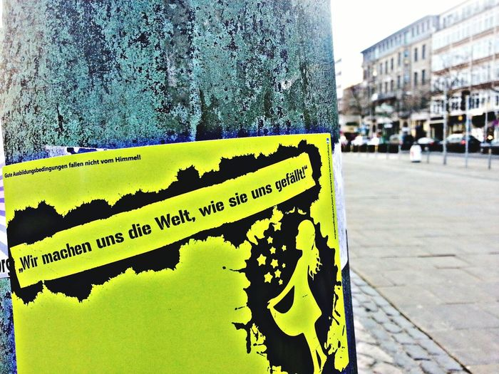 Green Sticker Street Art Taking Photos City Hannover Germany Georgsplatz Outside Check This Out Hello World