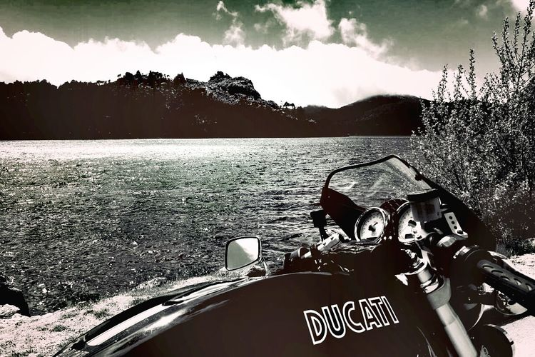Nature Sky Emotions Day Outdoors Travel Photography Bikers Ducati 1000 Sport Black And White Photography Travel Destinations Corsica No People Backgrounds Sea And Sky Seascape Motorbike Motorcyclepeople Motorcycle Photography Viaggio Moto Passion