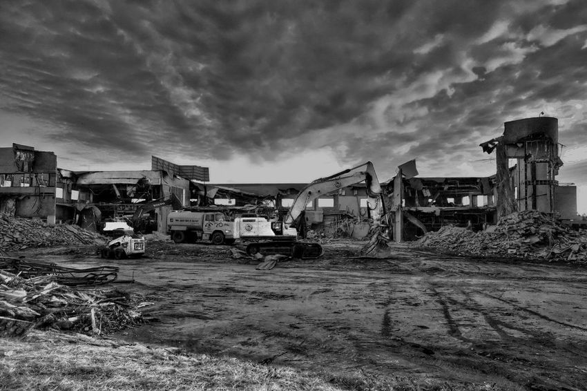 Demolition Zone Demolition Sky Clouds And Sky HDR Tone Mapping Monochrome Blackandwhite