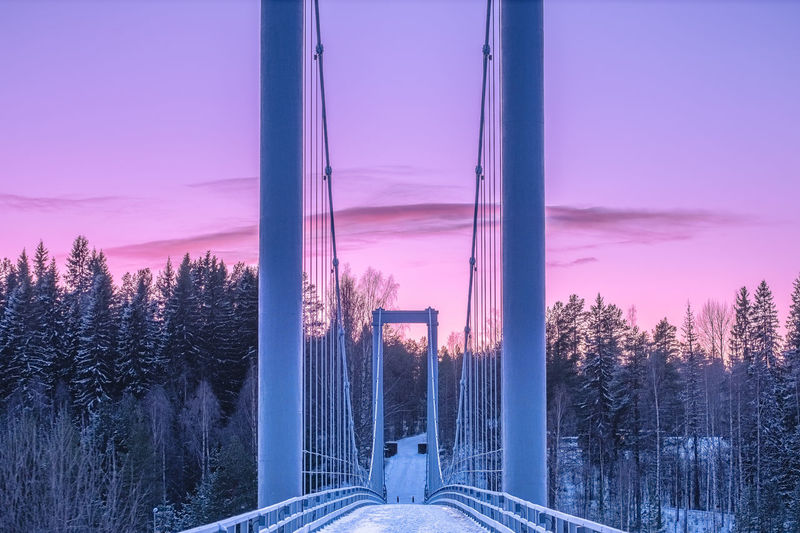Panoramic view of bridge against sky during winter