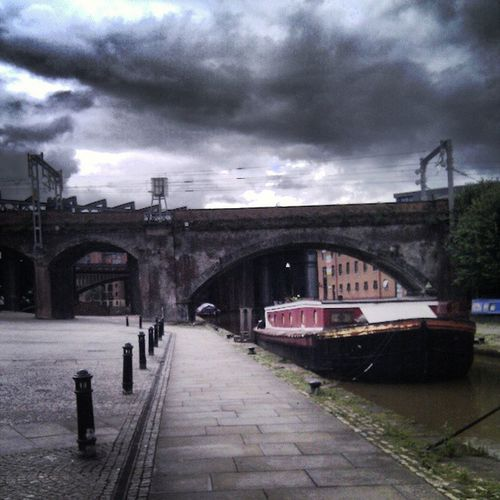 Sidewayscity Manchester Castlefield Lancashire clouds barge canal towpath city storm