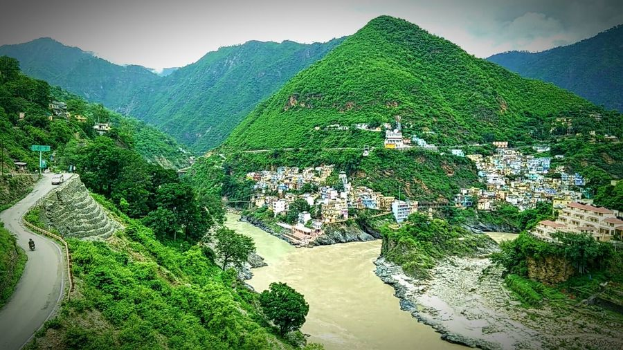 Confluence Cityscapes Devprayag Sangam River Ganges Cityscape: different perspective