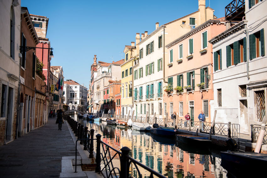Venice, Italy Architecture Building Exterior Built Structure Canal City Clear Sky Day Gondola - Traditional Boat Large Group Of People Nautical Vessel Outdoors People Real People Sky Sunlight Travel Destinations Venice