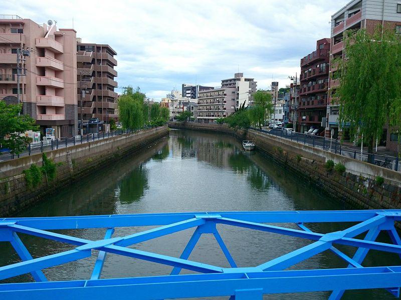 鉄橋 川 船 柳 新田間川