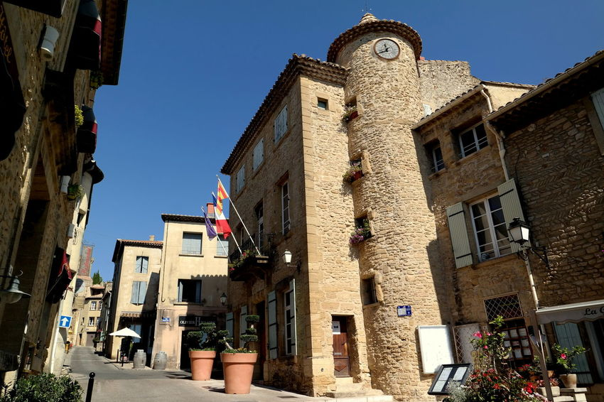 Architecture Blue Sky Building Exterior Chateauneufdupape City Life Clear Sky Eye4photography  EyeEm Best Shots EyeEm Gallery EyeEmBestPics France From My Point Of View Historical Building Low Angle View Old Buildings Provence Residential Building Stone Material Sunny The Week On EyeEm Tourism Tourist Attraction  Travel Destinations Wine Wine Tasting