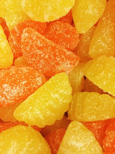 Lemon Orange Gummies Sugary Citrus  Candy Sliced Citrus Sections Sugar Coated Chews Jujubes Full Frame Color Palette
