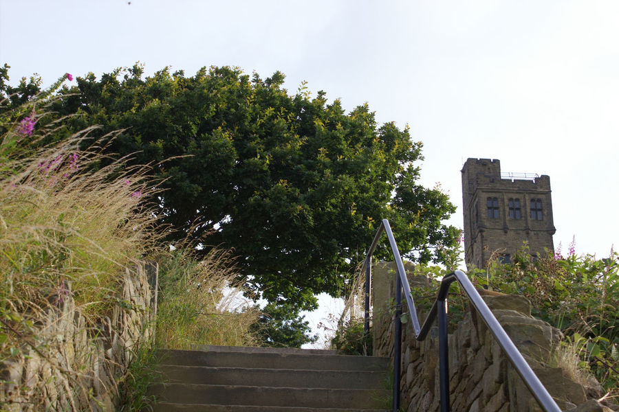 Looking up at the Tower Looking Up Victoria Tower Hill Tranquil Scene Tranquility Tree Steps Sky - Clouds Hand Rail